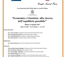 """""""Economia e Giustizia, alla ricerca dell'equilibrio possibile"""", Milano 16 giugno 2017"""