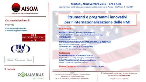 """""""Strumenti e programmi innovativi per l'internazionalizzazione delle PMI"""", Parma 28 novembre 2017"""