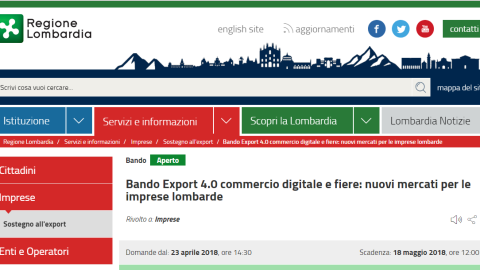 Bando Export 4.0 – Commercio digitale e fiere: nuovi mercati per le imprese lombarde