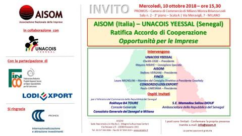 MILANO, 10 ottobre 2018_Accordo di Cooperazione Senegal
