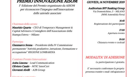 MILANO, 14 novembre 2019_Premio Innovazione AISOM